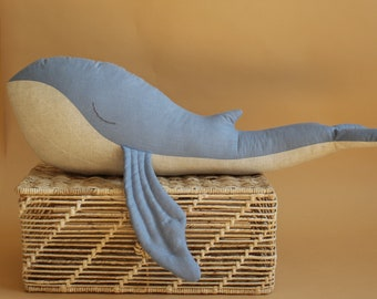 Humpback whale toy - Huggable whale pillow - Stuffed animal - Nautical Nursery - Baby birthday gift - Linen soft toy