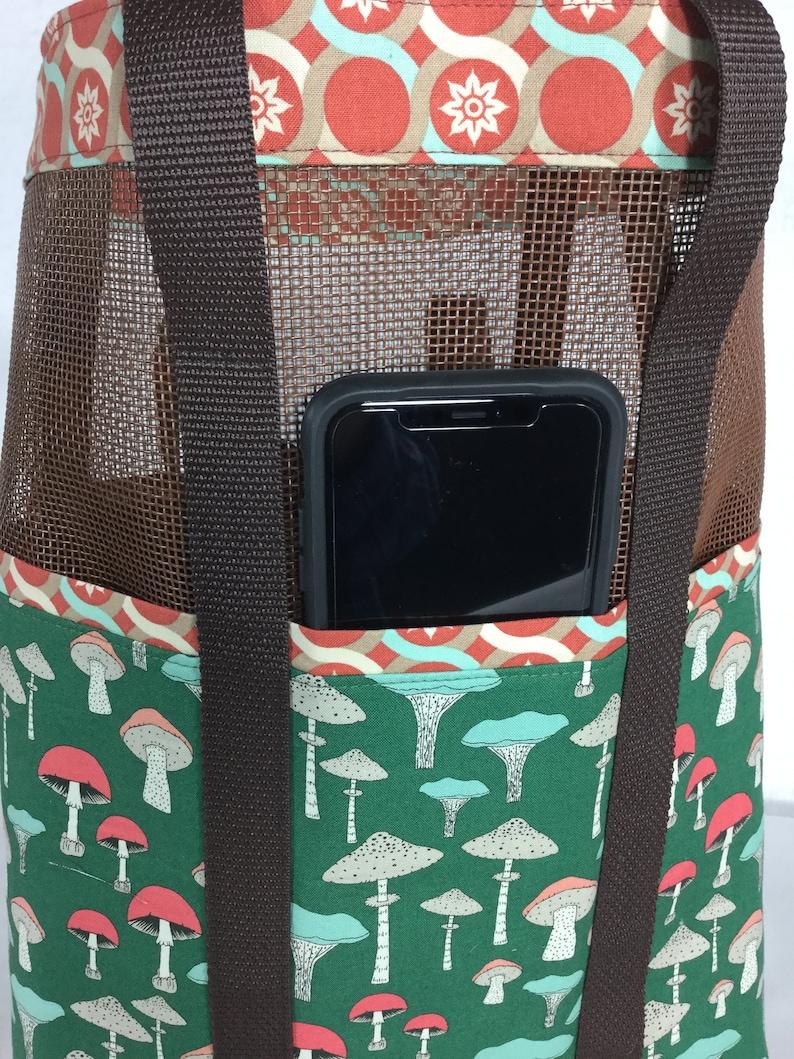 multi-functional handmade craft grocery market foraging tote bag Mushroom print