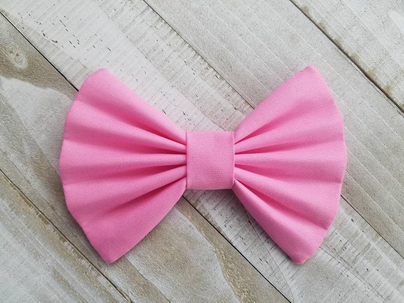 Handmade Girls Pink Fabric Hair Bows Kitten Print Hair Bow Clip Headbands