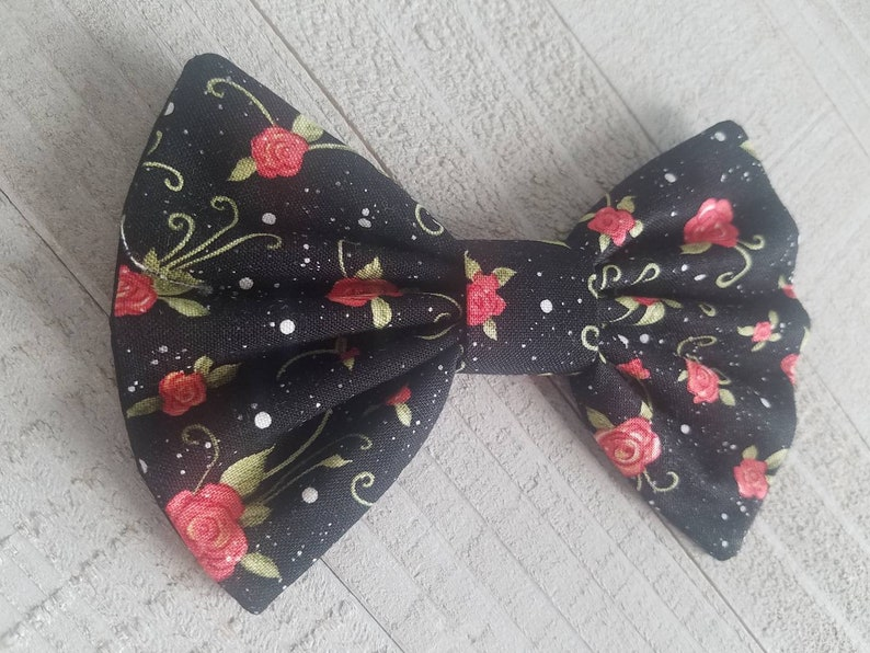 Barrette Girls Cotton Fabric Womans Teen Alligator Toddler Black Floral Hair Bow with Coral color Roses Skinny Nylon Headband