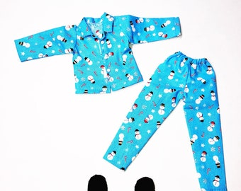 4c565f29e8c Elf doll clothes blue snowman pajamas PJ s with slippers new for on the  shelf