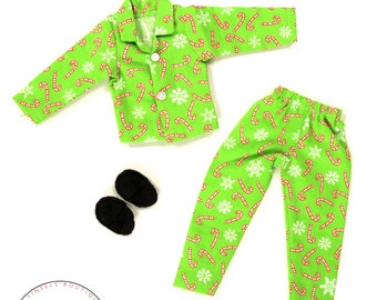 90d2c082042 Elf doll clothes green candy cane pajamas PJ s new for on the shelf