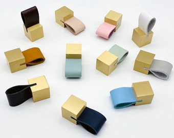 Brass Cube with Leather Drawer Pulls, Cabinet Pulls, Drawer Knobs, Wardrobe Pulls, Knobs for homes, offices, cafes, restaurants etc.