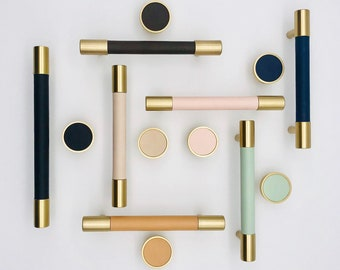 Brass with Leather Drawer Pulls, Cabinet Pulls, Drawer Knobs, Wardrobe Pulls, Knobs for homes, offices, cafes, restaurants etc.