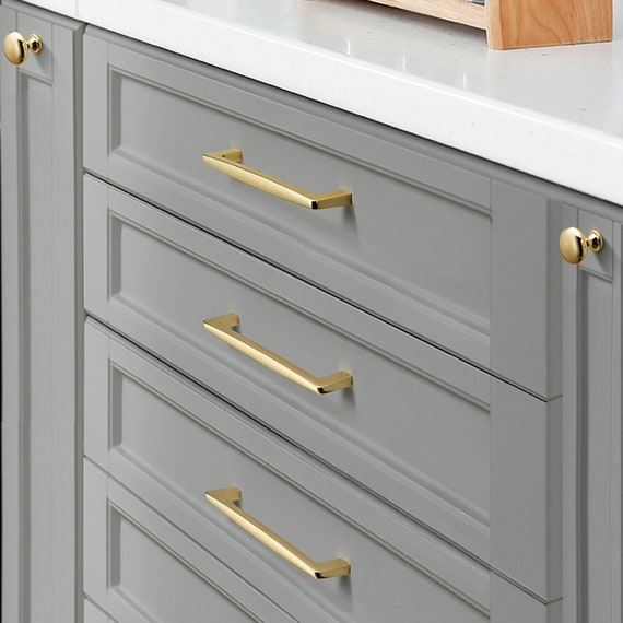 High Polished Luxury Gold Cabinet Pulls, Luxury Kitchen Cabinet Knobs