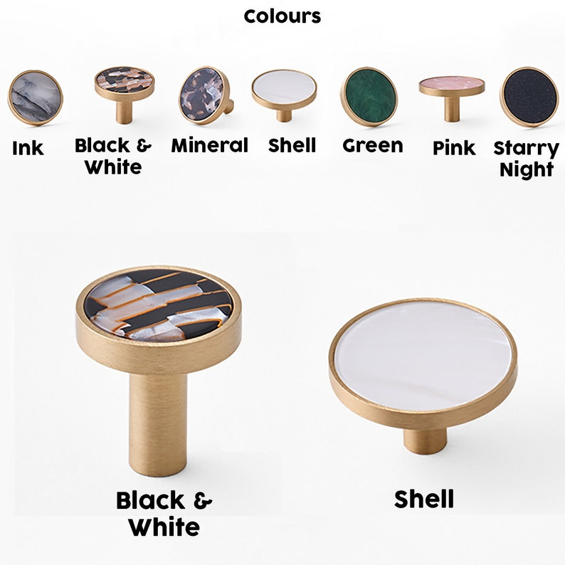 restaurants etc. cafes Walnut Round Wall Hooks Cabinet Knobs Crystal offices Brass Decorative Marble Drawer Knobs for homes