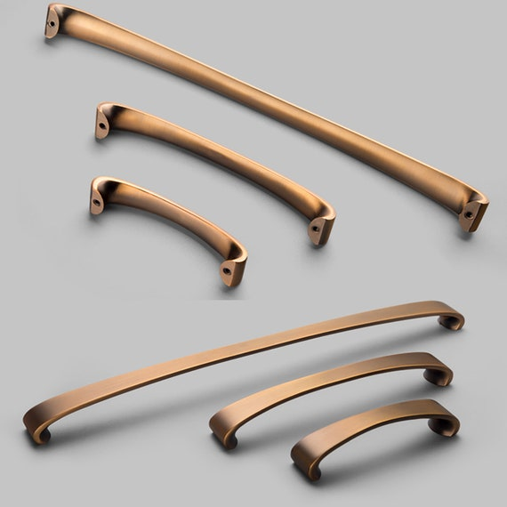 Brushed Bronze Cabinet Pulls Knobs Drawer Etsy
