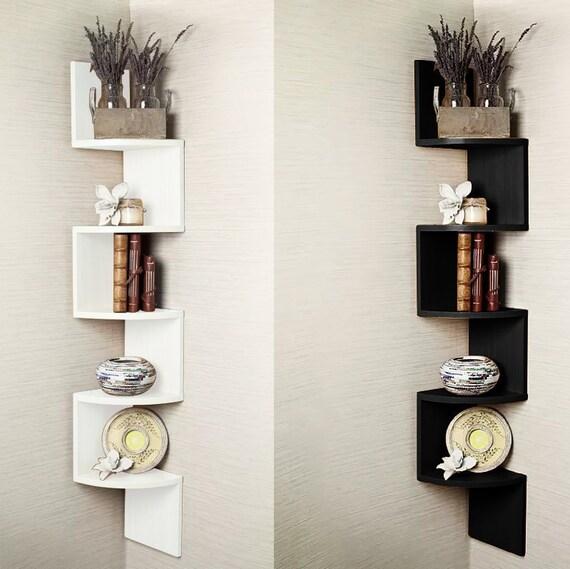 5 Tier Corner Shelf Floating Wall Shelves Storage Display Etsy