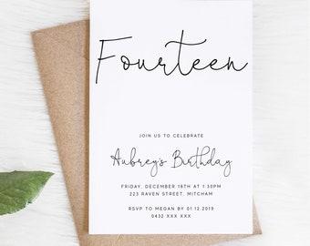 Fourteenth Birthday Printable Classy Birthday Invite Z224 INSTANT DOWNLOAD Birthday Invite Burnt Orange 14th Birthday Invitation