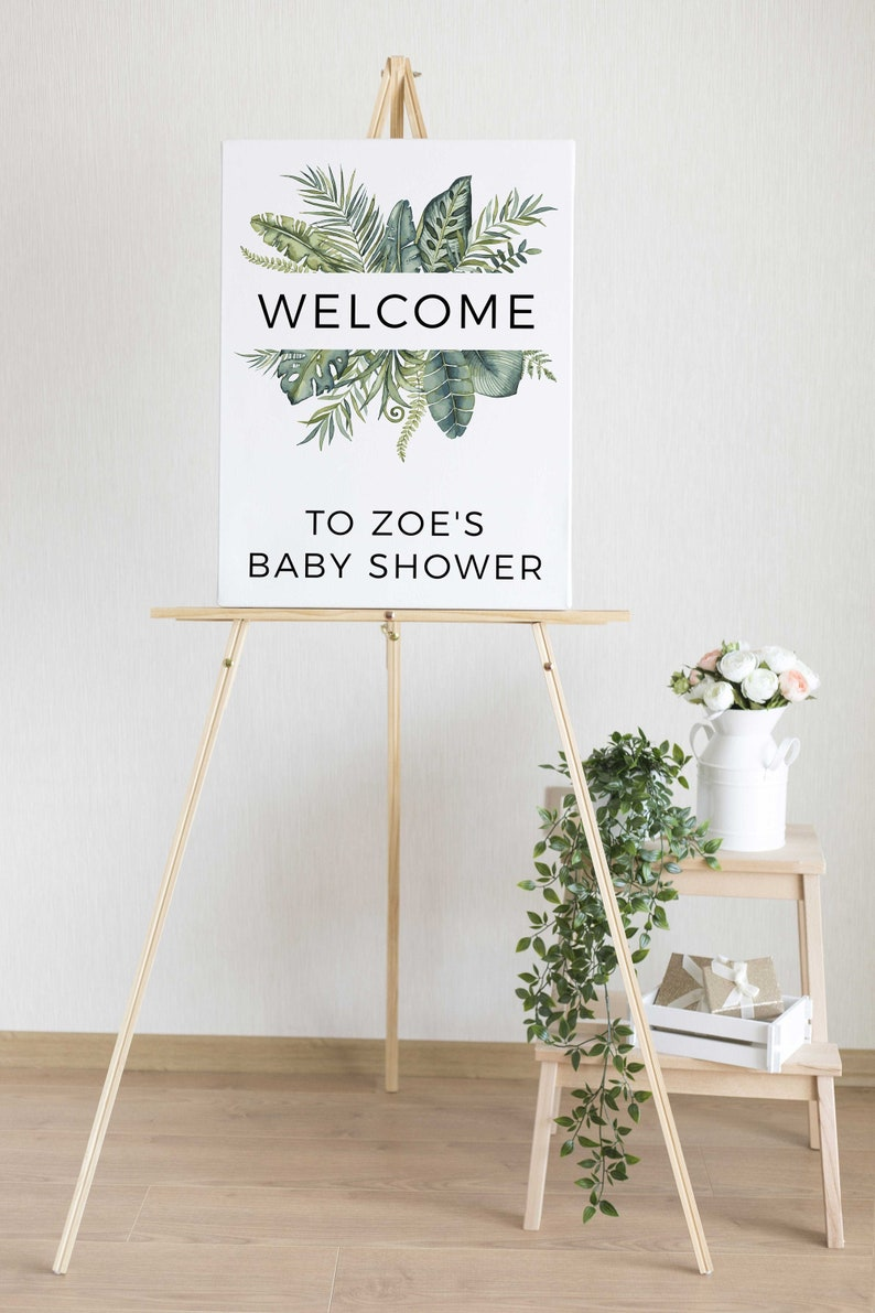 INSTANT DOWNLOAD Template Printable Baby Shower Welcome Sign B15 Baby Shower Welcome Poster Greenery Editable Baby Shower Welcome Sign