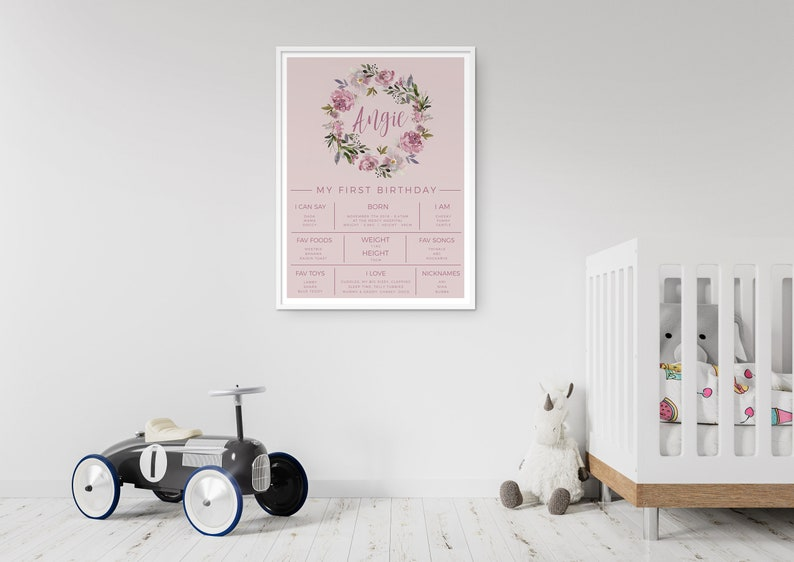 Baby keepsake Milestone sign Digital download Z288 Custom 1st bday sign Print yourself First Bday Poster EDITABLE Baby Milestone board