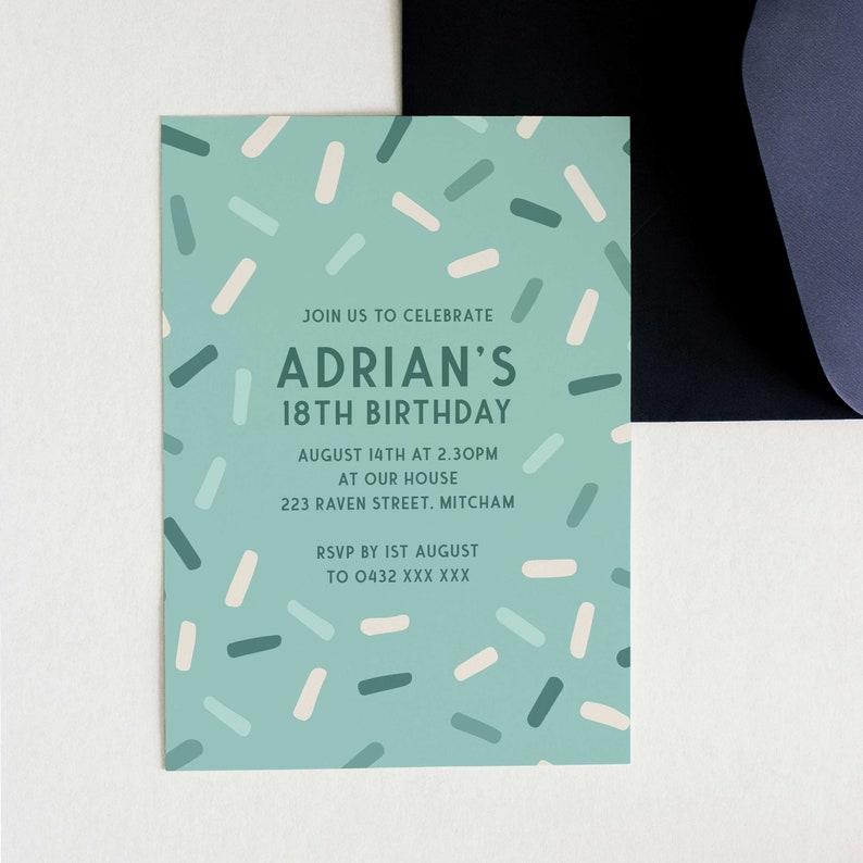 18th Invite INSTANT DOWNLOAD Birthday Invite 18th Birthday Invite Eighteenth Invite Z239 Sprinkle Printable 18th Birthday Invitation