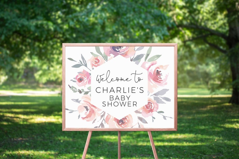 Editable Baby Shower Welcome Sign Printable Welcome Sign B38 Printable Baby Shower INSTANT DOWNLOAD Template Baby Shower Welcome Poster