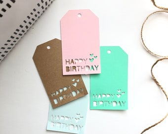 Happy Birthday Gift Tag SVG File Silhouette Studio Cameo Diy Cut Cutting
