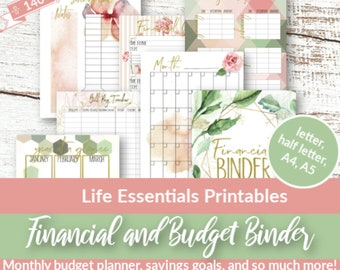 Financial Planner, Budget Planner PRINTABLE, Finance Planner, A5,A4, Letter, Half Size Money Planning, Monthly Saving, Expense Tracker, Debt