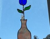 Blue tulip in vase