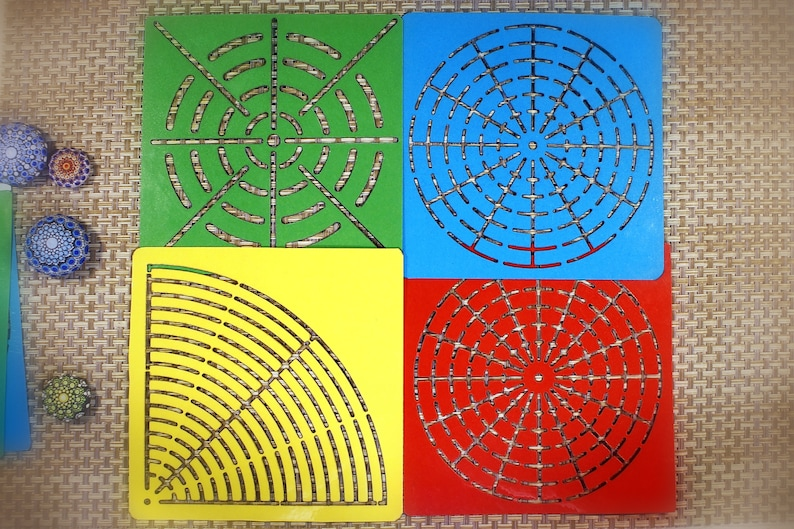 Set 1 of 4 stencils for dot handpainting and mandala drawing image 0