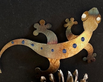 Printed Metal Lizard Figurine Aboriginal Vintage Hand Made Hand Signed