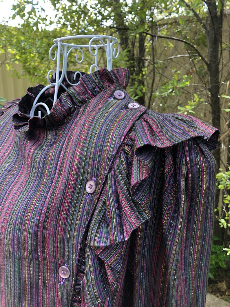 1980s Walter Kristensen Vintage Top and Puffy Culottes Set Multi Colour Stripe Pattern Solid Colour Lining