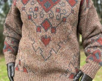 Vintage 80s Pitlochry Brown Diamond Pattern Ladies - Unisex Knitwear Sweater Jumper Pure New Wool - Size M