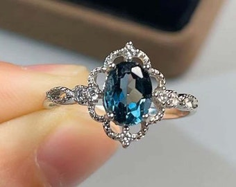 Anniversary Ring Birthday Gift, Natural Opal And Natural Blue Topaz Ring In Sterling Silver,Engagement Ring Promise Ring