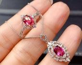 Handmade Purple Garnet Jewelry Set, Sterling Silver Garnet Ring, Dainty Garnet Necklace Pendant, January Birthstone Jewelry, Gift for Her