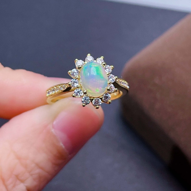 S925 Sterling Silver Opal Ring CZ Diamond Ring Raw Oval Opal Stone Ring October Birthstone Ring Jewelry Natural Blue Fire Opal Ring