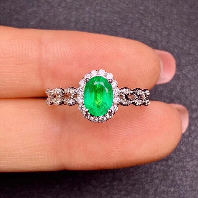 925 Sterling Silver Ring Handmade Emerald Ring May Birthstone Emerald Jewelry Statement Ring Gemstone Ring CZ Diamond Green Emerald Ring