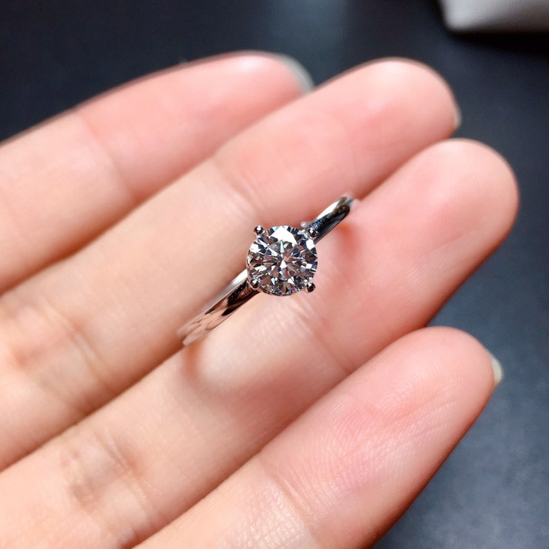 Brilliant Round Cut Solitaire Moissanite Stacking Ring Simulated Diamond Anniversary Ring Gift for Her Solid 18K White Gold Band