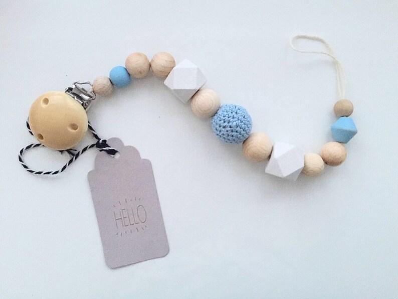 H/äkelperle Grau Schnullerkette -Junge -Fuchs Blau HEXAGON perle