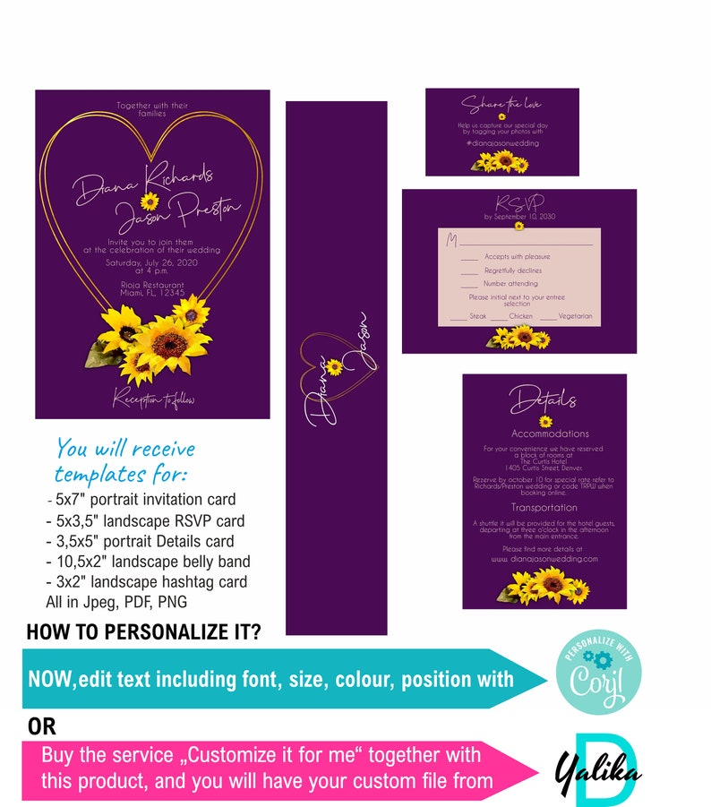 Thank you card Yde17 Sunflower and purple wedding invitation template download  gold heart frame sunflower wedding invite set RSVP