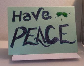 Have PEACE clover design - PMU Card