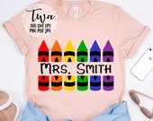 Crayon split monogram svg, teacher name svg, custom teacher svg, back to school svg, personalized school shirt svg, svg cut files for cricut