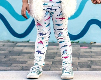 ab8ebef99ac1 Smarty Girl Shark Leggings 12M-5T | Toddler Girls Organic Ethical Sharks  STEM Pants Science Clothes Smart / Nerdy / Geeky Kids Clothing