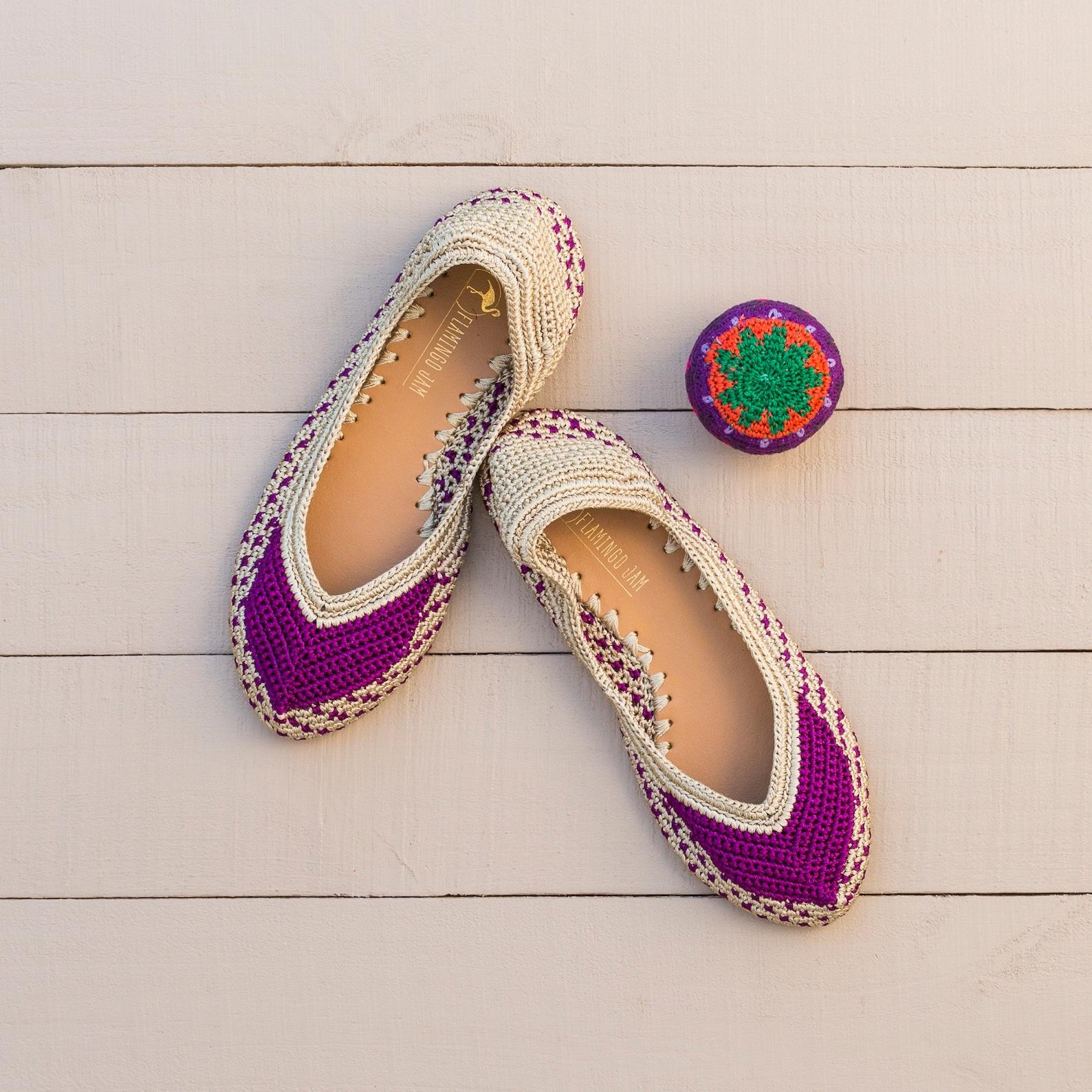 jepun crochet ballet flat shoe