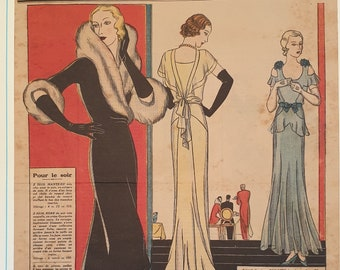 1931 French Fashion Color Plate Print from Le Petit Echo de la Mode Magazine for February 1931 Beautiful Fashion DressModel Clothes #21