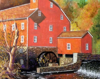 The Clinton Gristmill This is a 16x20 Framed Pastel of one of the most famously photoed gristmill in the US.