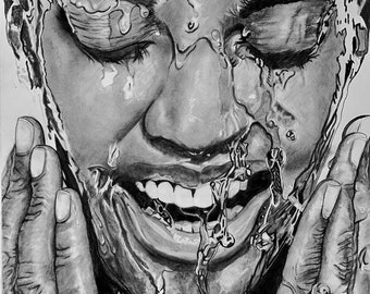 WATER WATER  EVERYWHERE Original 20x26.5 Un Framed Graphite and Charcoal piece also offered as a 20x26 Canvas Wrapped Print
