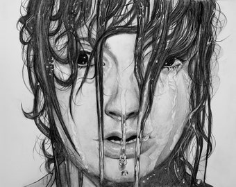 Pour Me a Drink of Water Original 18.5x24.5 Graphite / 2019 Fusion Art Black and White Exhibition: 5th Place for Traditional Art.