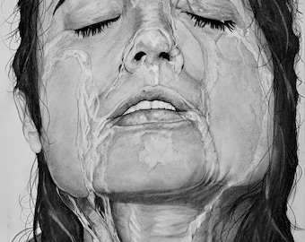 SOAKED This is a 21x28 Un-Framed Original Graphite/Charcoal also offered as a 21x28 Canvas Wrapped Print.