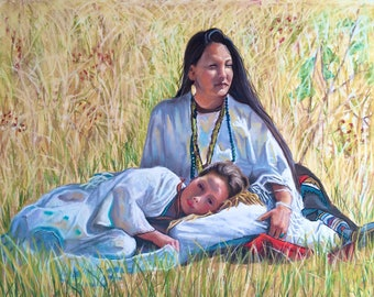 DAY DREAMING This is an Un-Framed 18x24 Original Pastel Of a Native American Woman laying in a field with her daughter.