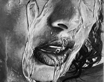 COOLING OFF Framed 19x 28.5 Original Graphite? Charcoal also offered as a Canvas Wrapped Print 18x28