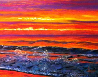 Romantic Sunrise This is a 16x20 Un-Framed Pastel of another incredible Sunrise at Jones Beach