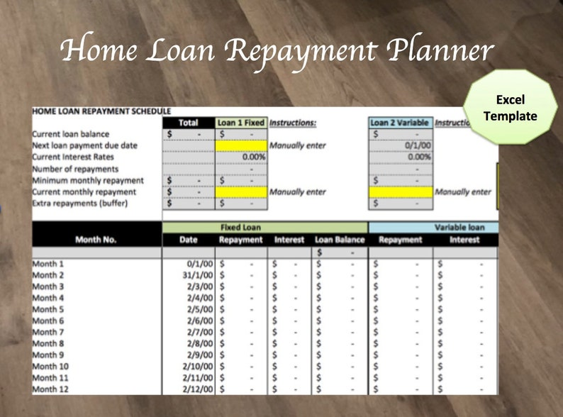 Home Loan Repayment Schedule Excel Template | Etsy