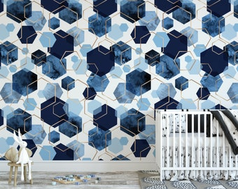 Peel And Stick Wallpaper Blue Etsy
