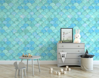 Peel-and-Stick Removable Wallpaper Watercolor Mermaid Scales Fish Scalloped