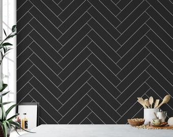 Peel And Stick Wallpaper Black Etsy