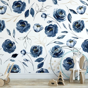 Large Navy Blue Roses Removable Wallpaper Peel And Stick Etsy
