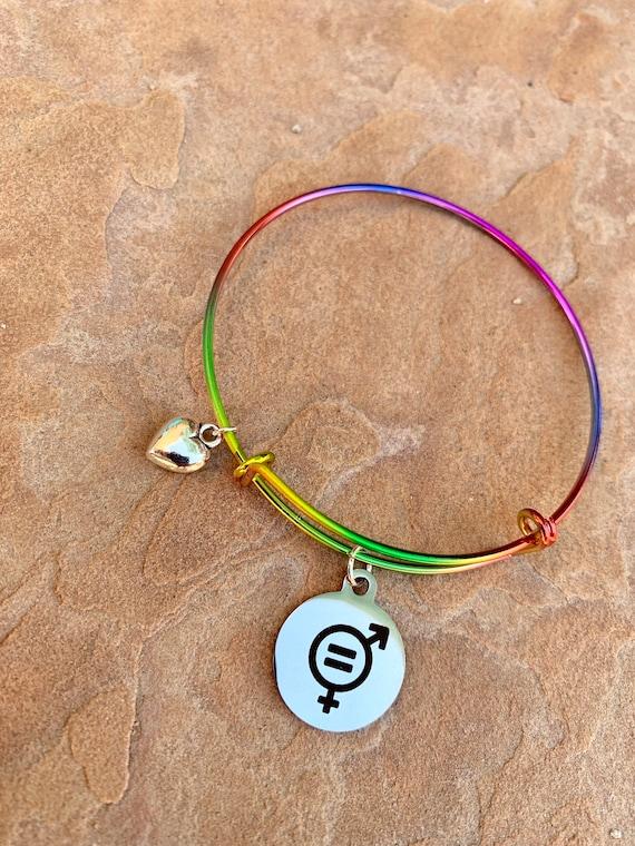 love wins equality PRIDE Charm Expandable Bracelet LGBTQ