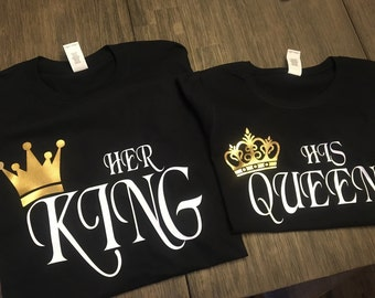 09216879eb Couples Shirt | King and Queen Shirts | Relationship / Engagement | Her King  | His Queen | Wedding Gift | Birthday Gift
